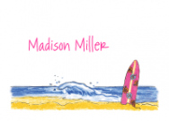Pink Surfboard Flat Note Card