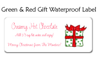 Green & Red Gift Waterproof Label