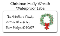 Christmas Holly Wreath Waterproof Label