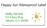 Happy Sun Waterproof Label