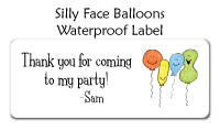 Silly Face Balloons Waterproof Label