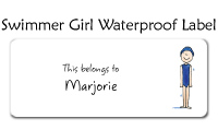 Swimmer Girl Waterproof Label