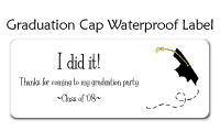 Graduation Cap Waterproof Label