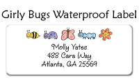 Girly Bugs Waterproof Label