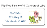 Flip Flop Family Of 4 Waterproof Label