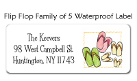 Flip Flop Family Of 5 Waterproof Label