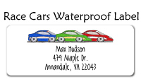 Race Cars Waterproof Label