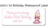 Girl's First Birthday Waterproof Label
