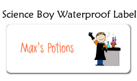 Science Boy Waterproof Label