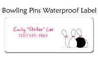 Bowling Pins Waterproof Label