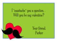 Girly Mustache Valentine Card