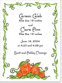 Pumpkin Family Twins Birth Announcements