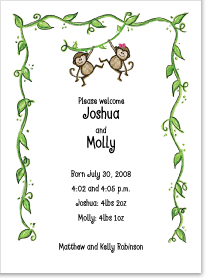 Two Monkeys Birth Announcements
