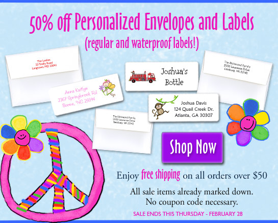 Huge sale on address labels and waterproof labels!